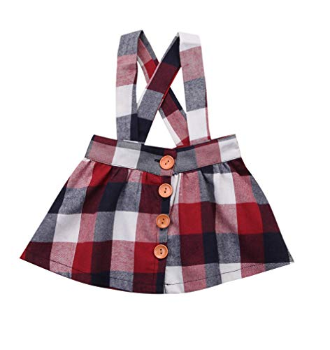 Baby Girls Velvet Suspender Skirt Infant Toddler Ruffled Casual Strap Sundress Summer Outfit Clothes (12-18M, Plaid)