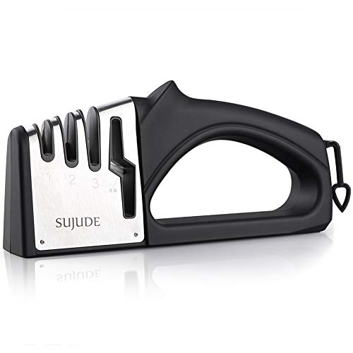 SUJUDE Knife Sharpener-4-Stage Scissors' Sharpening Diamond, Ceramic Tungsten-Helps Repair, Restore and Polish Blades-Kitchen Tools for Kinds of Knives, 4-in-1, Black