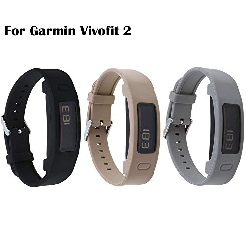 Garmin Vivofit 2 Buckle Bracelet - Adjustable Wristband and Wristwatch Style - Silicone Replacement Secure Band with Chrome Watch Clasp and Fastener Buckle for Garmin Vivofit 2 (Black&Brown&Gray)
