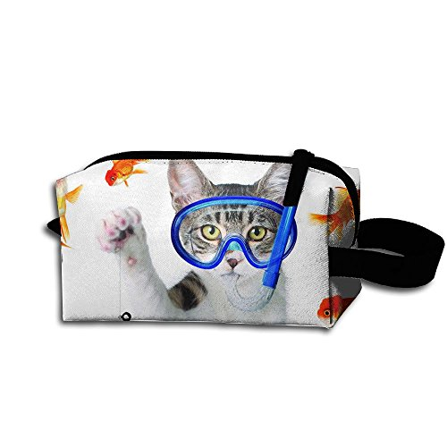 Cat Hook Goldfish Bag-Portable Travel Organizer Cosmetic Toiletry Bag Cosmetic - No Fear Sunglasses