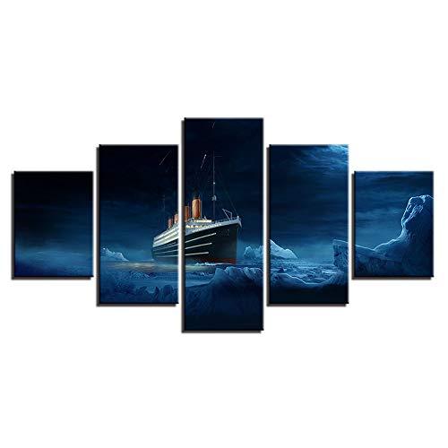 Frameless Oil Painting Set - Aliworte Living Room Home Indoor Mural Wall Landscape Art Decoration Hang Modern Oil Painting On Canvas DIY 5Pcs/Set Titanic Frameless 100x40 80x40 60x40(cm)