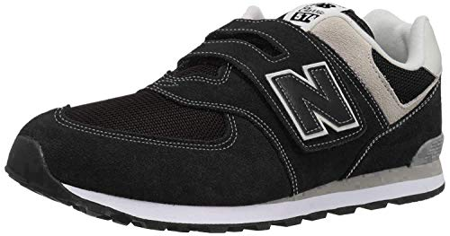 New Balance Boys 574v1 Hook and Loop Sneaker, Black/Grey, 4.5 M US Little Kid (4-8 Years)