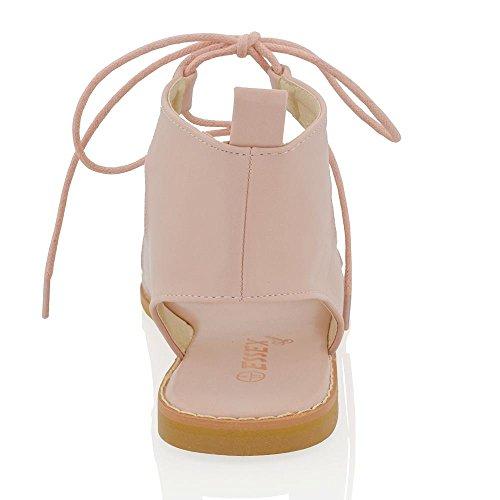 Essex Glam Sandales Plates Gladiateur Pour Femmes Lacets Cravate Cuir Synthétique Peep Toes Sandales Cuir Synthétique Rose Pâle
