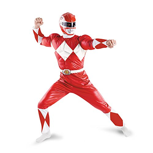Disguise Men's Saban Power Rnagers Mighty Morphin Red Ranger Classic Muscle Costume, Red/White, (Mighty Morphin Power Rangers Costumes)