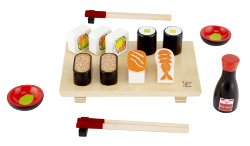 - Hape Sushi Selection Kid's Wooden Play Kitchen Food Set and Accessories