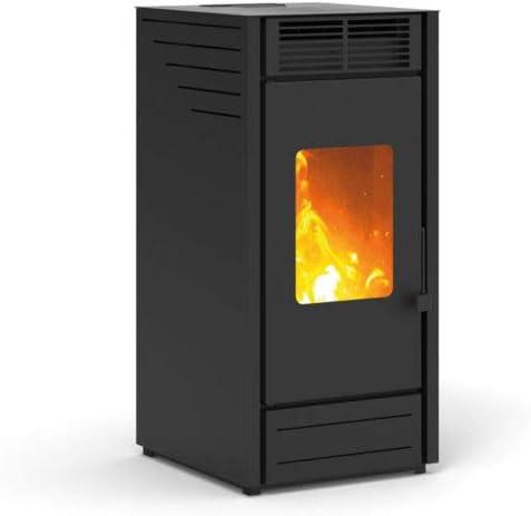 Karmek One Asia - Estufa de pellets de 7,65 kW, aire ventilado, acero, color blanco