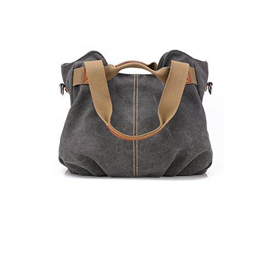 Women Bags Casual Vintage Hobo Canvas Mulit-Pocket Daily Purse Top Handle Shoulder Tote Shopper ()