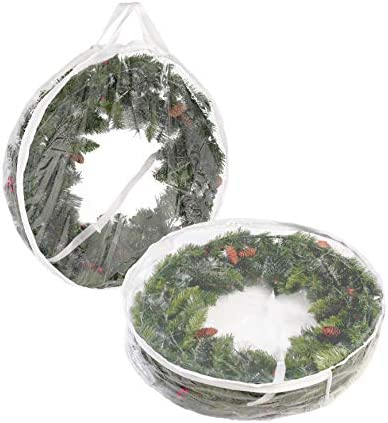 Joiedomi Clear Christmas Wreath Storage Container (2 Packs), 30 inches Christmas Wreath Clear Plastic Storage Bag with Dual Zippers and Handles for Xmas Season