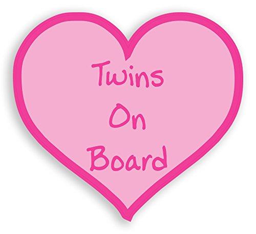 TWINS ON BOARD PINK LOVE HEART STICKER landing designs