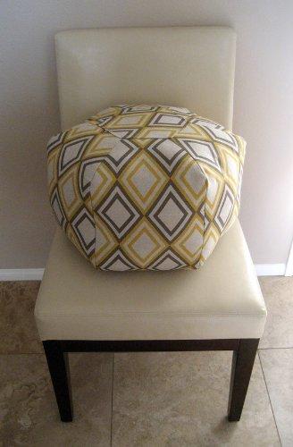"18"" Pouf Ottoman Floor Pillow Yellow Natural Geometric"