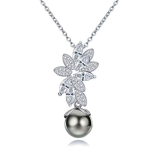 Ytzada Gray Black Tahitian Cultured Pearl Necklace Pendant Sterling Silver with Cubic Zirconia Anais Fine Jewerly for Women Girls