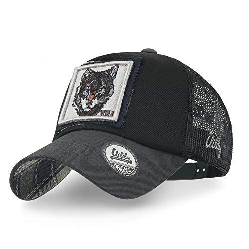 ililily Wolf Deer Eagle Bear Wild Animal Square Patch Casual Mesh Baseball Cap Trucker Hat (Medium, Black Wolf)