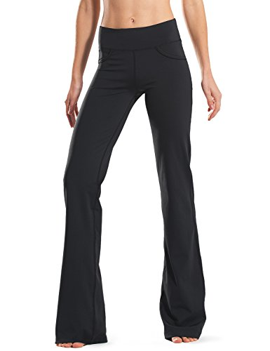 "Safort (28""/30""/32""/34"" Inseam Regular/Tall Bootcut Yoga Pants, Four Pockets, Long Bootleg, Flare Pants, Black, L by Safort (Image #7)"