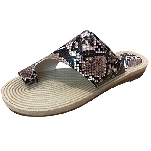 - Sharemen Ladies Summer Beach Sandals Set Toe Snake Pattern Flip-Flops Comfortable Holiday Sandals(Brown,US: 7)