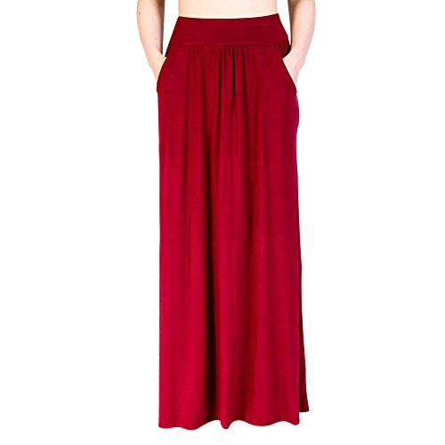 Women's Solid Maxi Skirt, Dacawin Ladies Summer Beach Elastic Waist Pocket Casual Long Skirt Sale!Sale!Sale! for $<!--$9.66-->