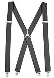 Suspenders for Women Elastic X-back Adjustable Straight Clip on -Grey (Tall, 54\