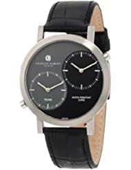 Charles-Hubert, Paris Mens 3549 Premium Collection Stainless Steel Dual-Time Watch with Black Leather Band