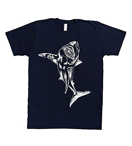 0c2a42e92 Funny Mens TShirt - Hand Printed Graphic Great White Shark Tee S M L XL XXL  Navy Blue