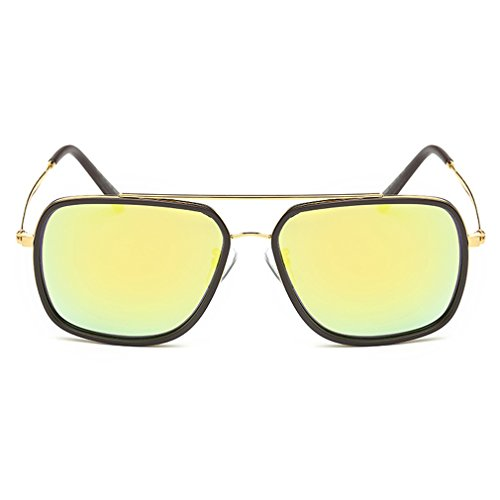 A-Royal Classic Retro Reflective Lens Metal Frame Wayfarer - Dark Very Sensitive Sunglasses Eyes