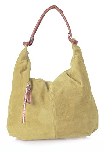 Big in morbida a hobo Shop Light Tan pelle vera scamosciata tote BH148 Borsa bag da spalla donna Handbag rvrqxPpR