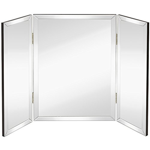 Hamilton Hills Trifold Vanity Mirror | Solid Hinged Sided Tri-fold Beveled Mirrored Edges | 3 Way Hangable on Wall or Tabletop Cosmetic & Makeup Mirror 28