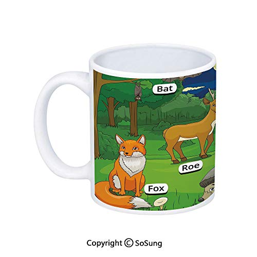 Educational Coffee Mug,Forest with Cartoon Animals with Names Educational Intellectual Fun Kids Game Decorative,Printed Ceramic Coffee Cup Water Tea Drinks Cup,Multicolor]()