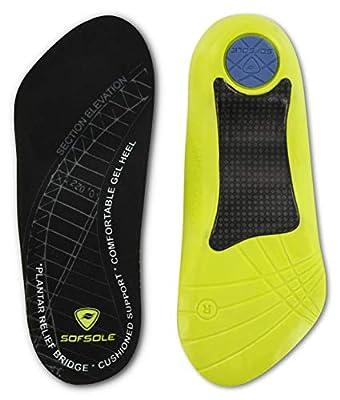 Sof Sole Insoles Women's PLANTAR FASCIA Support 3/4 Length Gel Shoe Insert, Women's 6-11