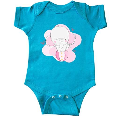 (inktastic Cute Elephant, Baby Elephant, Infant Creeper 6 Months Turquoise)
