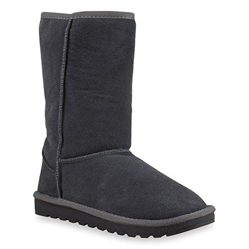 Damen Schlupfstiefel Warm Gefütterte Stiefel Leder Stiefeletten Wildleder-Optik Boots Profilsohle Schuhe Übergrößen Flandell Grau Arriate