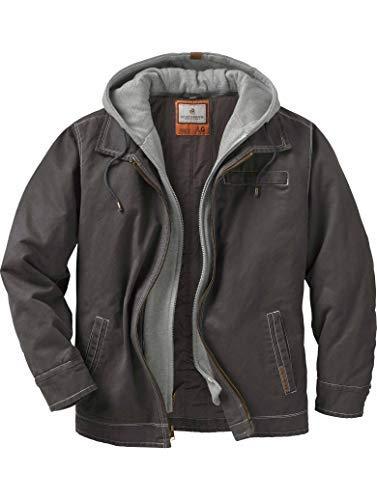 layered hooded leather jacket - 5