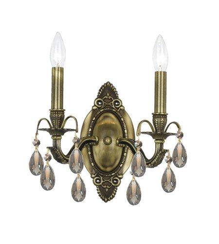 Wall Sconces 2 Light With Antique Brass Golden Teak Hand Cut Crystal Candelabra 11 inch 120 Watts - World of ()