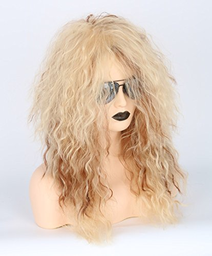 Men or Women 80s Clothes Fashion Wig Rocker Mullet Metal Halloween Costume Wig Blonde Curly by Toposplay (Image #3)