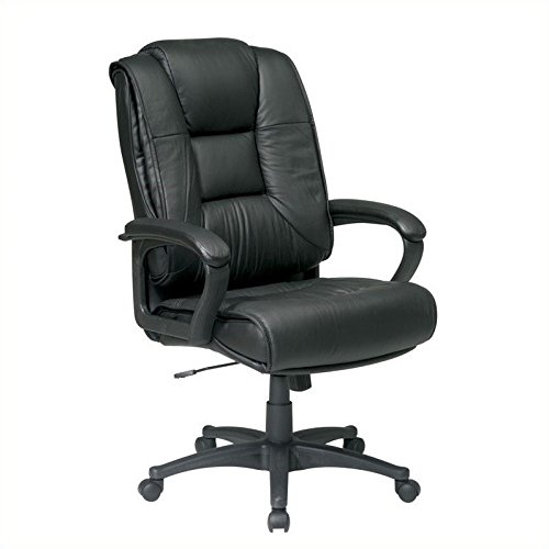 Office Star High Back Executive Leather Chair with Padded Loop Arms, Green