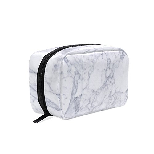 ALAZA Marble Texture Cosmetic Bag Black Zipper Storage Bag P