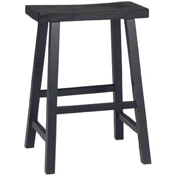 "Amazon.com: Saddle Seat Bar Stool - 24"" H - Black (Black ..."