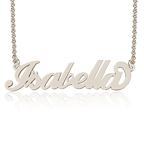 Personalized Isabella Name Necklace, Custom made in stock, Sterling Silver (Custom Made Nameplate Necklace)