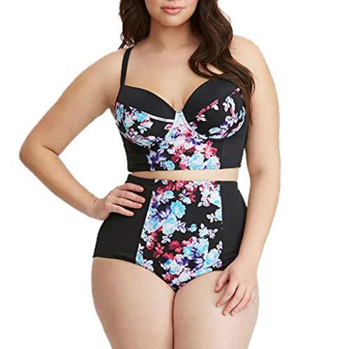 2019 New Women Bikini 2 Piece,YEZIJIN Women's Sexy Plus Size Print Split Swimsuit Beachwear Bikini Swimsuit Black
