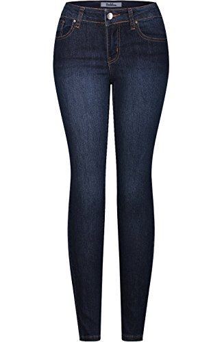 2LUV Women's Stretchy 5 Pocket Dark Denim Skinny Jeans Medium Blue 1