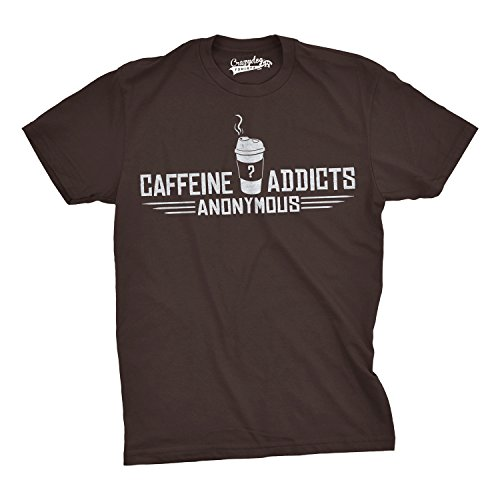 Crazy Dog TShirts - Caffeine Addicts Anonymous T Shirt Funny Yoga and Coffee Graphic T Shirts - Camiseta Divertidas