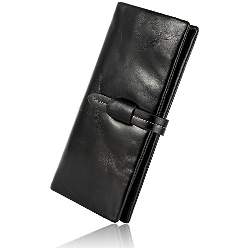 (RFID Blocking Wallets for women, Ruvalino New Arrival Genuine Leather Slim Designer Clutch Ladies Purse Card Holder Organizer, Black)