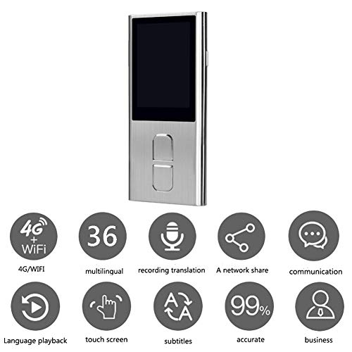 Smart Voice Language Translator Device,Real-Time Two-Way Foreign Speech/Text WiFi&4G Learning Travel Business Shopping English Spanish German Chinese Italian French Etc,Silver -