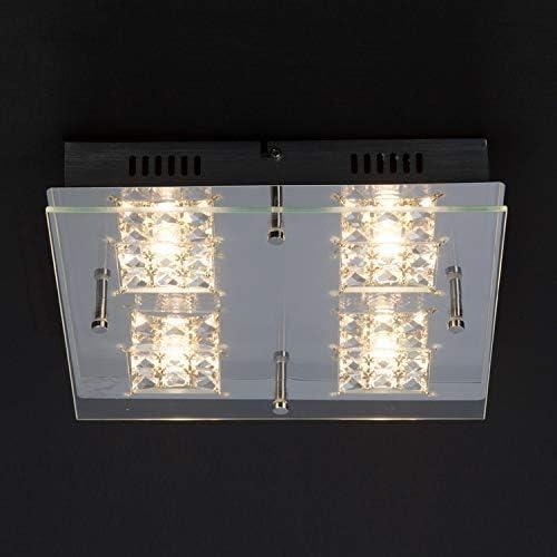 Brilliant Martino Wand und Deckenleuchte, 4-flammig, LED integriert, 4x 5 W, 420lm, 3000K, Metall Glas, chrom/transparent G94267/15