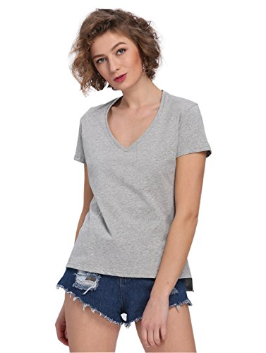 Payeel Organic Cotton T-Shirt Women's V-Neck Loose Comfy Pullover Top Tee (M, Gray)