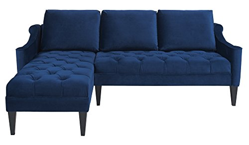 Jennifer Taylor Home, Reversible R/L Arm Facing, Sectional Sofa, Navy Blue, Velvet, Hand Tufted, Wooden Legs