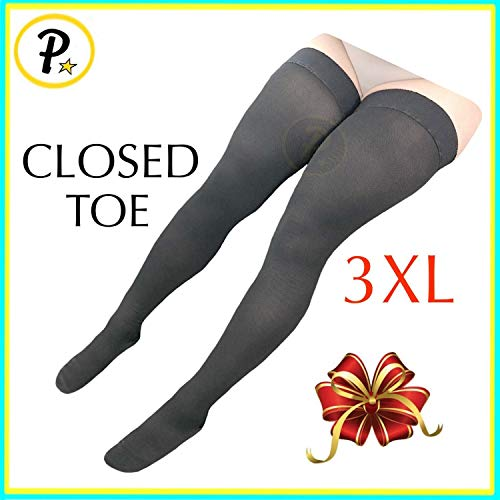 Presadee Thigh High Leg Full Length 20-30 mmHg Graduated Compression Grade Stocking Swelling Fatigue Edema Varicose Veins Support Socks Closed Toe (Black, 3XL)