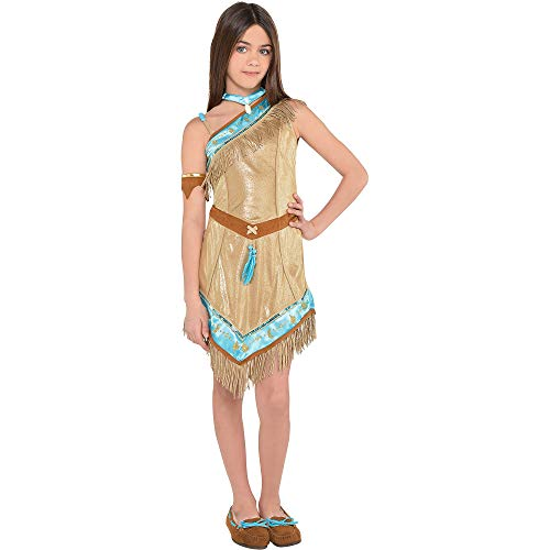 Suit Yourself Pocahontas Costume for Girls, Size Medium, Includes a Faux-Suede Dress, Arm Band, a Cape, and a Necklace]()