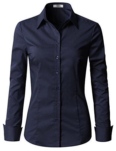 Pinstripe Down Dress Button Shirt (EZEN Womens Button Front Shirts Navy Small)