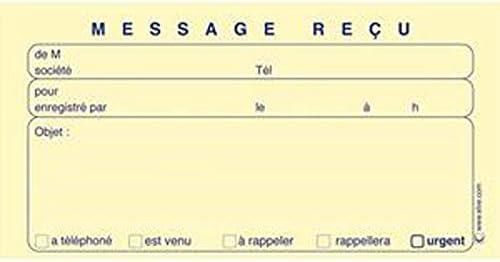 Lot de 5 Carnets de 160 messages re/çus autocopiants 31,2 x 15 cm
