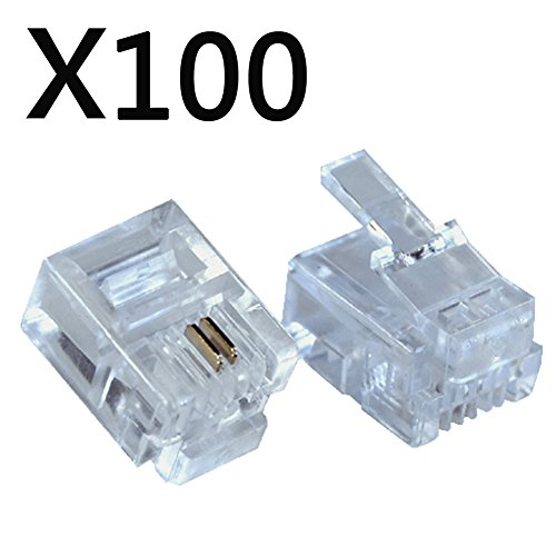 100PACK Telephone Plug 6P2C RJ11 Modular Plug (6/2, Telephone Cord Connector)
