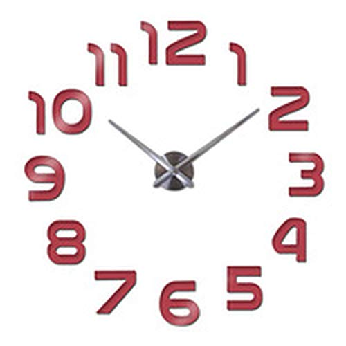 Price comparison product image New Clock Watch Wall Clocks horloge 3D Acrylic Mirror Stickers Home Decoration Living Room Needle, Red, 27inch